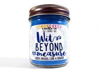 Wit Beyond Measure - Book Candle - Bookish Candle - 8oz Soy Candle - LemonCakes Candle Co - Wisdom, Lavender, Cedar, Redwood