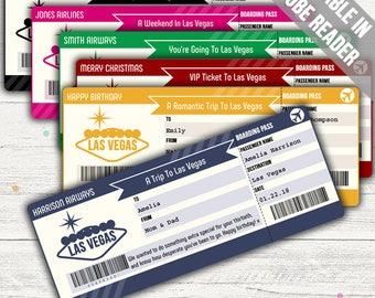 Surprise Trip To Las Vegas Boarding Pass (Surprise Trip Ticket). Six Colors. Editable. Instant Download.