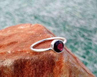 Natural Red Garnet Round Cut Simple Ring - Handmade Ring -  925 Sterling Silver