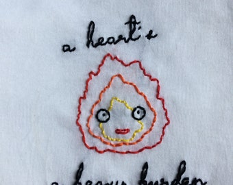 Calcifer Quote hand-embroidered shirt