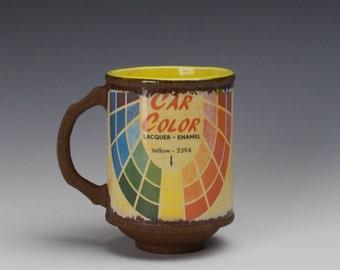 "Porcelain Mug ""Car Color"" w/ Yellow liner glaze"