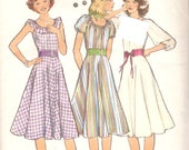 Style 1877 Misses' 70's Dress - Gathered Neckline Boho Chic - A- line Flared - Knee Length - Retro - Groovy - Size 12 Bust 34""