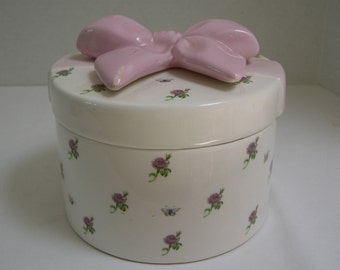 Teleflora Pink Bow Gift Bowl Butterflies & Flowers Jewelry Box with Lid roses butterflies jewelry box Teleflora Gift