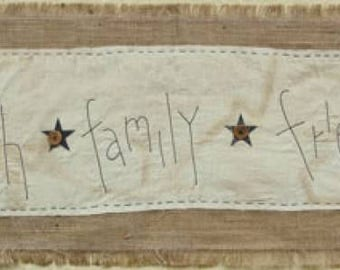 Faith Family Friends Burlap Table Runner