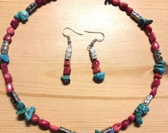 Handmade turquoise and pink stone necklace and earring set!!