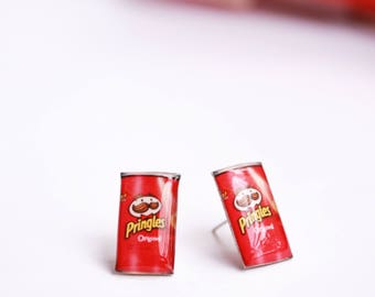Pringles earrings Chips earrings Chips jewelry Food earrings Chips lover gift Foodie gift idea Food jewelry Food lover gift Snacks earrings