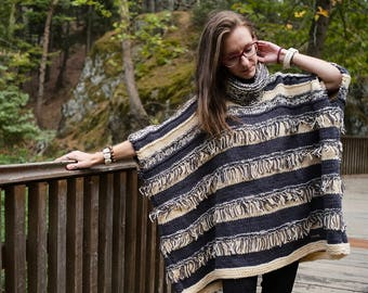 Knitted Poncho, Oversized Poncho, Handmade Poncho, Woman Poncho, Poncho with fringes , Stripped Poncho