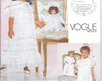 "Vogue 2105 - 18"" Doll  Heirloom Dress - Strasberg Heirloom Collection - OOP -  1998 - NOTE: Doll pattern only! (cut out)"