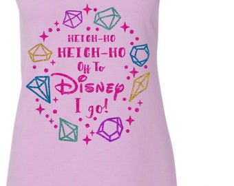 Heigh Ho Heigh Ho Off To Disney I go - Snow White and the Seven Dwarfs Glitter Shirt