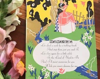 1930 Art Publishing Company Chicago Gilt Deco Memories Couple Romantic Small Print