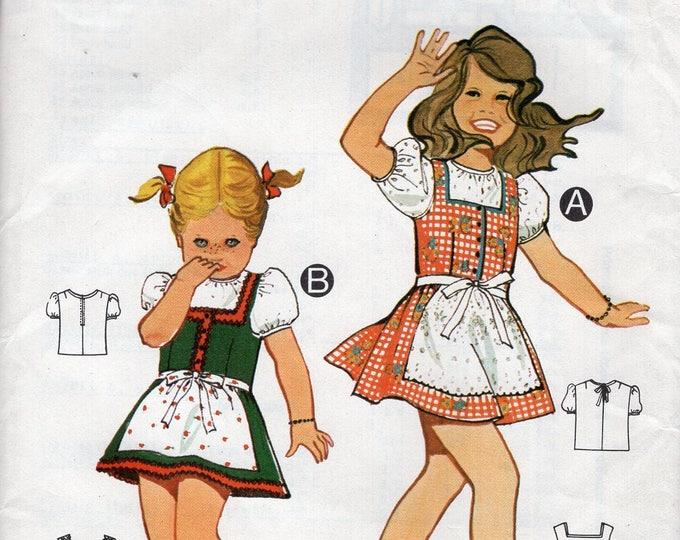 Burda 01248 Sewing Pattern Free Us Ship Uncut Better Homes and Garden Pinafore Dress  2 4 6 Girls Toddler Uncut Vintage Retro 1970s 70s FF