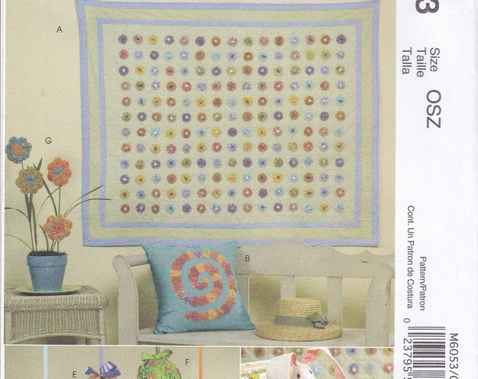Free Usa Shipping Craft Sewing Pattern Quilt McCalls 6053 yo-yo Pillow Fabric Flower Egg Ball Bunny Rabbit Doll Uncut Out of Print