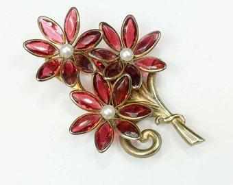 30s 40s Pink Flower Dress Clip