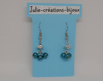 Earrings peacock blue and silver beads