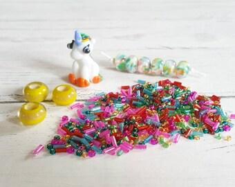 Rainbow Unicorn Bead Kit - Lampwork Focal Beads - Focal Beads - Rainbow Bead Kit - Glass Beads for Jewellery Making - Jewellery Making Kit