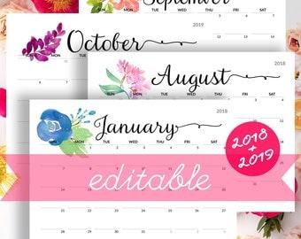 2018 Calendar PRINTABLE Desk Calendar Planner Monthly Pages