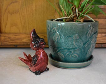 1960's Red Bird Figurine - Mid Century Modern Knick Knack