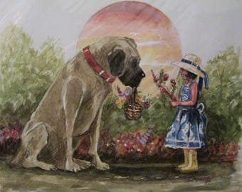 My Best Friend, 16x20 Original Watercolor Painting,One of a Kind,Not a Print
