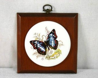 Vintage Monarch Butterfly Tile On Wood Orange Butterfly Monarch Buttefly Decoration Butterfly Tile Butterfly Wall Hanging