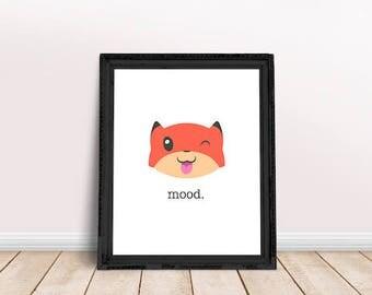 Fox Silly | Mood Printable, Emoji Printable, Fox Nursery, Immediate Download, Printable Poster, Digital Print, Fox Emoji, Cool Fox