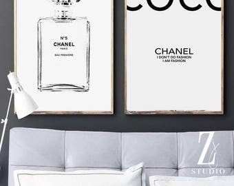 Chanel art printed Large Chanel wall art coco Chanel poster coco Chanel print coco Chanel wall art chanel Chanel No.5 Sketch set of 2 prints
