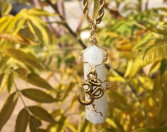 """Moonstone Necklaces with an """"AUM"""" Charm"""