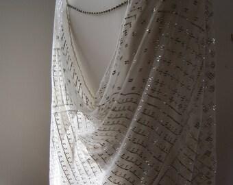 1920s Assuit Top, Shawl, Cover-up, Egyptian Revival, Wearable Antique Art, Cream Silver, Boudoir, Evening Wear,