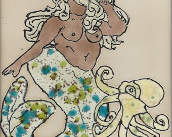 Fluffy Mermaid with Octopus  Hand Painted Kiln Fired Decorative Ceramic Wall Art Tile 6 x 6