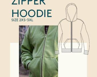 women's pdf zipper hoodie sewing pattern womens PDF sewing patterns womens jacket PDF sewing pattern Zipper PDF sewing pattern tutorial