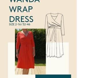 Womens dress pdf sewing pattern|Wrap dress PDF pattern for sewing|Jersey wrap dress PDF pattern|Digital dress pdf sewing pattern for women