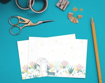 Otje the dog & the greenhouse A6 postcard