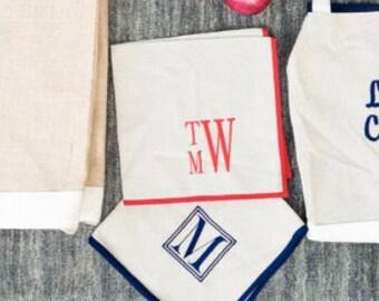 Monogrammed Napkins, Personalized Napkins, Set of 4 monogrammed Napkins, Monogrammed Burlap Napkins, Monogrammed Dining Tabel Napkins
