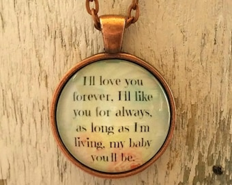 I'll Love You Forever | Quote Necklace | Glass Pendant | Gift from Mom | Free Gift Box | Gift Ideas | You'll Always Be My Baby | My Baby