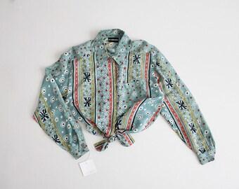 90s silk blouse | ethnic print blouse | silk crop top