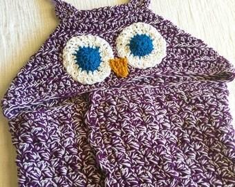 Purple hooded owl crocheted blanket for kids size blanket for girls