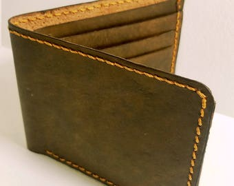 Handmade Personalized Leather Minimilist Wallet. Bifold Wallet. Fathers Day Gift. Mens Gift.