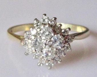 18ct Gold White Diamond Cluster Ring