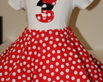 3rd birthday outfit,Third birthday outfit,Minnie Mouse inspired birthday,Disney birthday,Minnie personalized shirt,Red and white twirl skirt