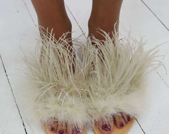 Greek sandals,slides,ostrich feathers,beige slides,women's shoes