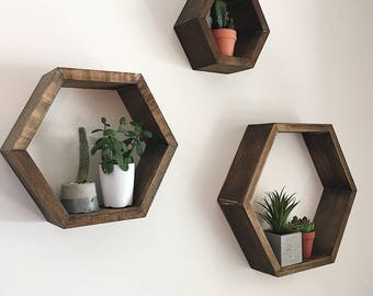 3 Hexagon Shelves | Floating Shelves | Wall Decor | Plant Shelves | Honeycomb shelves | Cubby shelves | Hexagon Shelf | Succulent shelf