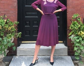 Vintage Plum Evening Dress with Beading and Belt