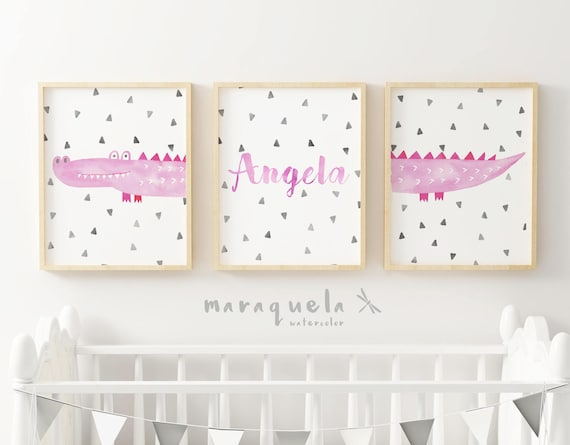 COCODRILE SET of 3 watercolor for kids and baby girl.Personalized items, custom gift,baby shower gift.Crocodiles, animals, customized name