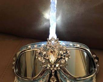 Burning Man Goggles, Unicorn Goggles, Light up goggles, Silver Blue goggles, LED Light Goggles, Festival Goggles, Festival Costume EDM EDC