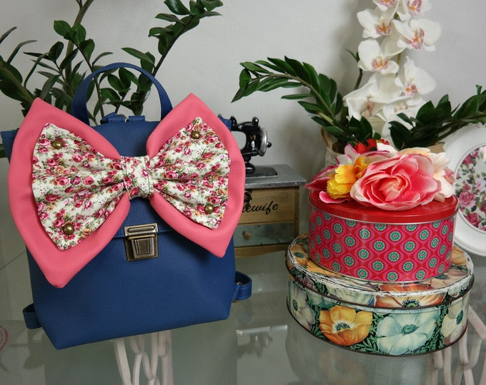 Captain Blue Backpack with Pink & Floral Bow