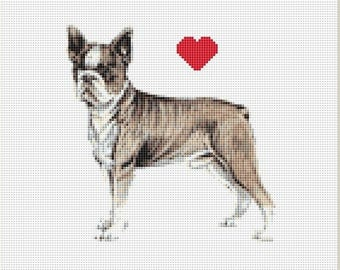Boston Terrier Counted Cross Stitch Pattern / Chart,  Instant Digital Download (AP072)