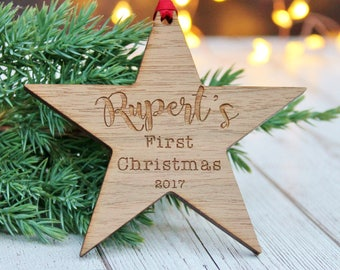 Baby's First Christmas Personalised Wooden Bauble Decoration