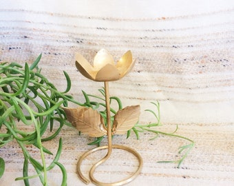 Vintage Avon tulip candle holder/70s brass tulip candle holder