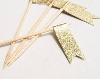 12 Gold Glitter Flag Toothpicks