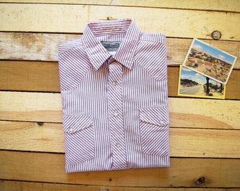 Men's Large Short Sleeve Western Pearl Snap Shirt Sunweave Red Pink Stripe Summer