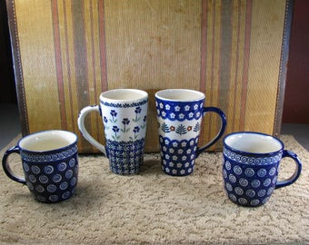 2 pairs of Mugs Handmade in Poland Boleslawiec Pottery Blue and white stoneware Latte